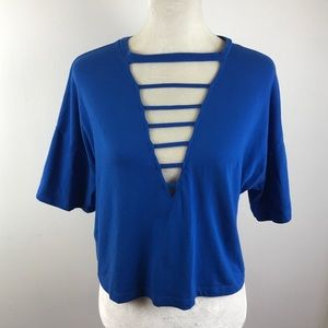 F 21 oversized top deep v cutout neckline blue med
